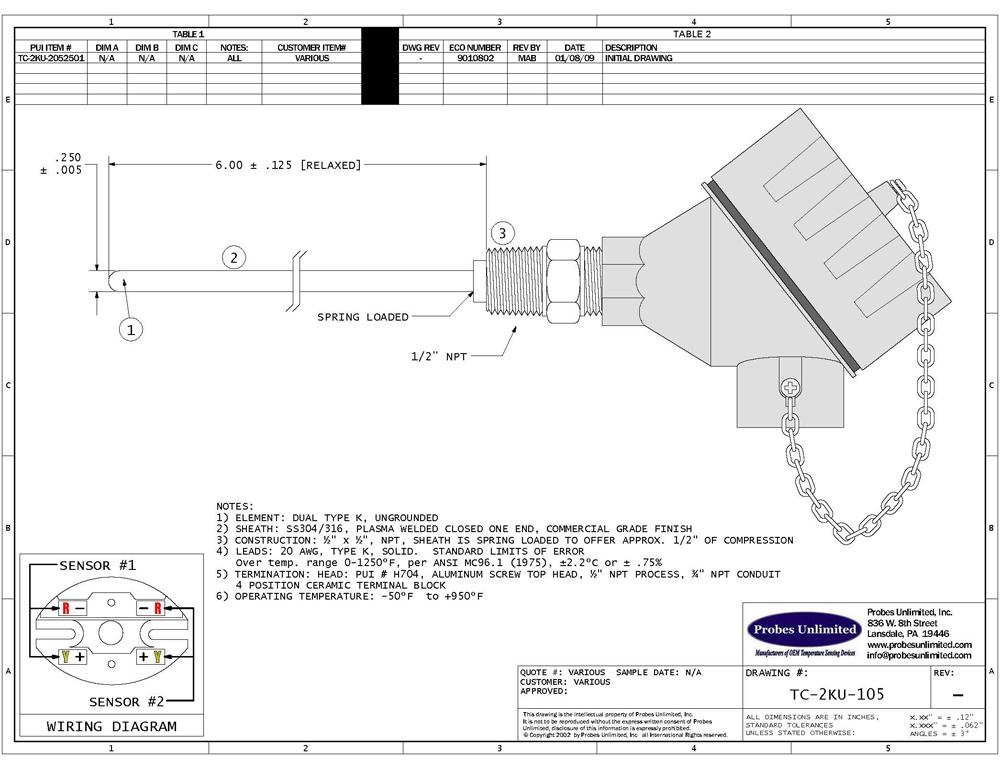 Thermocouple Sensor Types J K R S T B Amp E